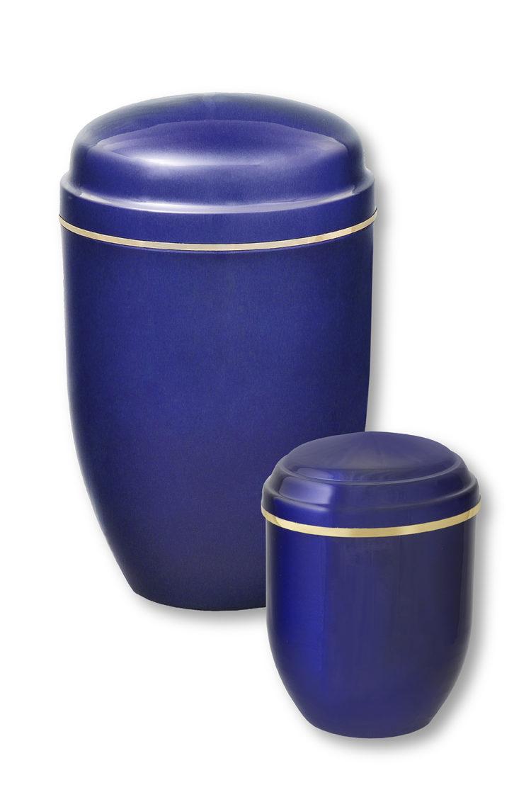 Deux urnes funéraires bleues