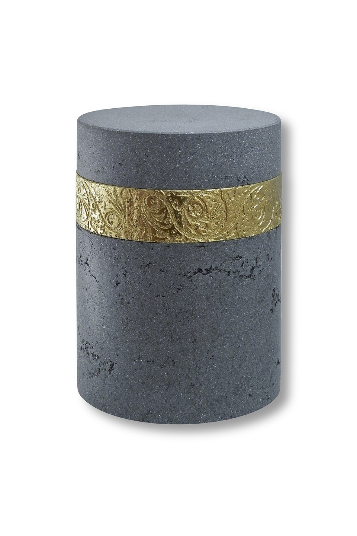 Urne funéraire grise sertie en or